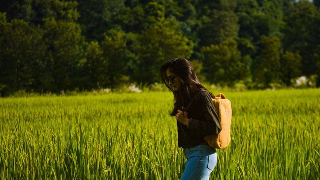 sustainable fashion brand backpack green field