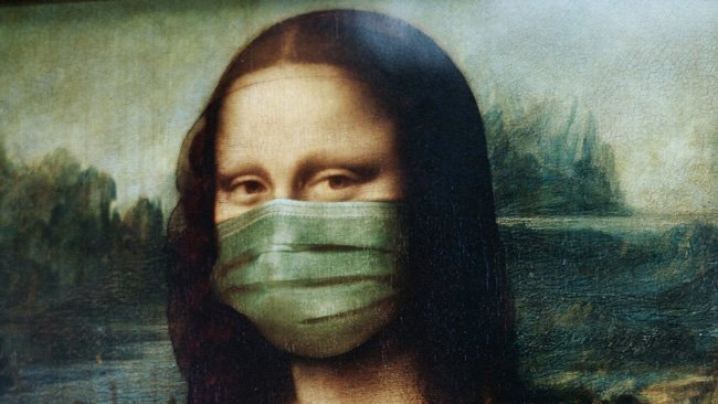 mona lisa with mask covid-19