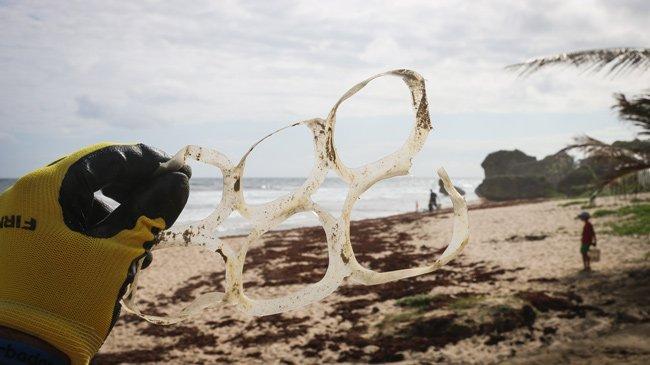 Litter picking on a beach